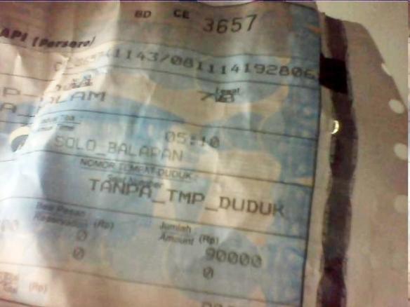 Tiket berdiri tanpa tempat duduk