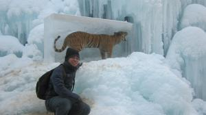 with frozen prehistoric tiger